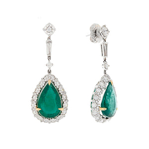18k White Gold Diamond & Emerald Drop Earrings