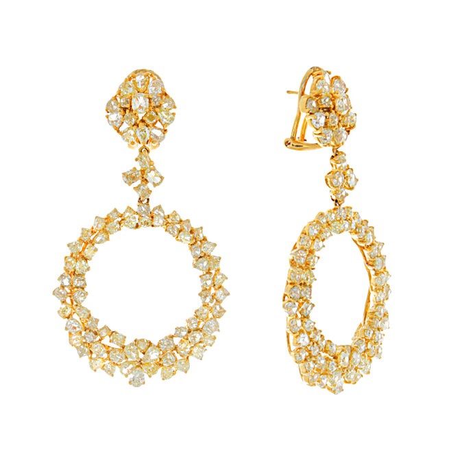18k Yellow Gold Yellow Diamond Drop Earrings