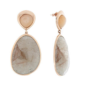 14k Rose Gold Rutilated Moonstone Earrings