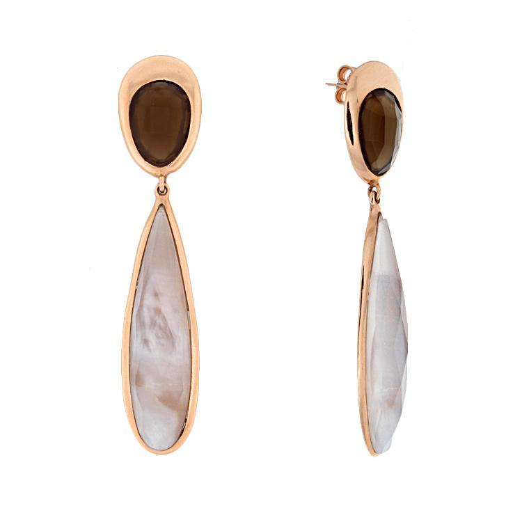 14k Rose Gold Smoky Topaz Drop Earrings