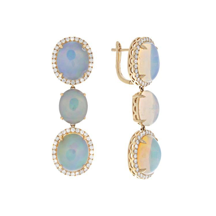 14k Yellow Gold Diamond & Opal Drop Earrings