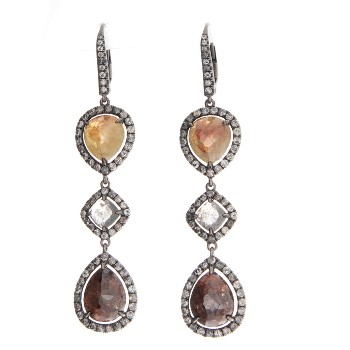 Faceted Diamond Drop Earrings