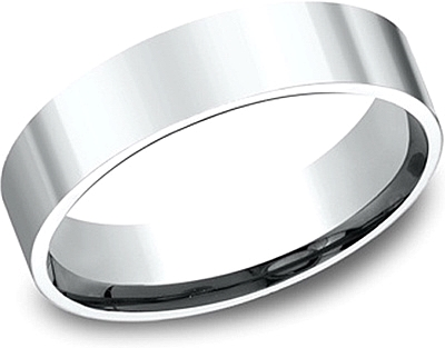 Flat Comfort Fit High Polished Wedding Band- 5mm