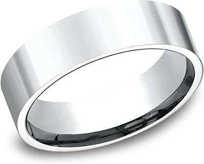 Flat Comfort Fit High Polished Wedding Band-6mm