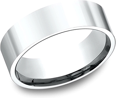 Flat Comfort Fit High Polished Wedding Band-7mm