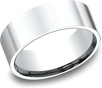 Flat Comfort Fit High Polished Wedding Band-8mm