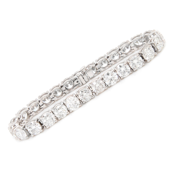 19.31ct 14k White Gold Diamond Tennis Bracelet
