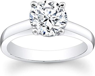 Flush Fit Solitaire Diamond Engagement Ring