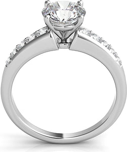 Graduated Pave Diamond Engagement Ring