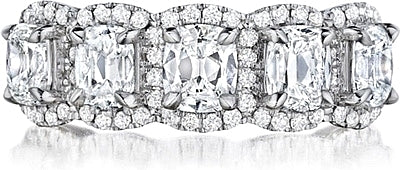 Henri Daussi 5 Stone Cushion Cut Diamond Band- 2.44ctw