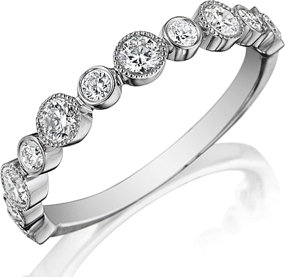Henri Daussi Bezel Set Diamond Wedding Band