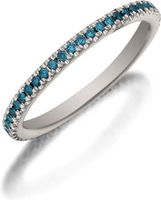 Load image into Gallery viewer, Henri Daussi Blue Diamond Pave Band