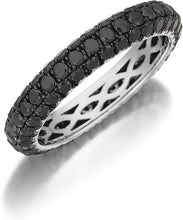 Load image into Gallery viewer, Henri Daussi Domed 3-Row Black Diamond Pave Band