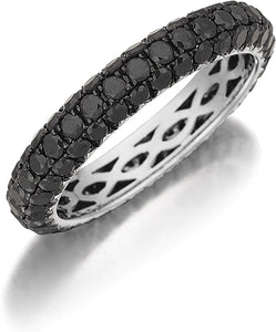 Henri Daussi Domed 3-Row Black Diamond Pave Band