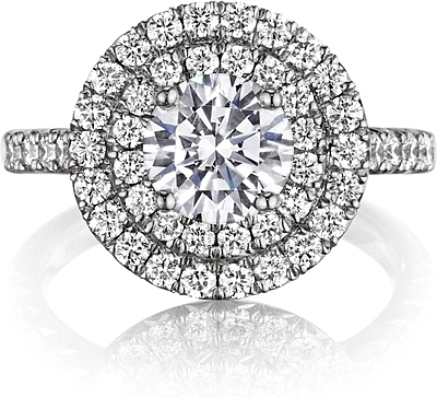 Henri Daussi Double Halo Diamond Engagement Ring