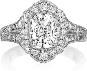 Henri Daussi Engraved Halo Diamond Engagement Ring
