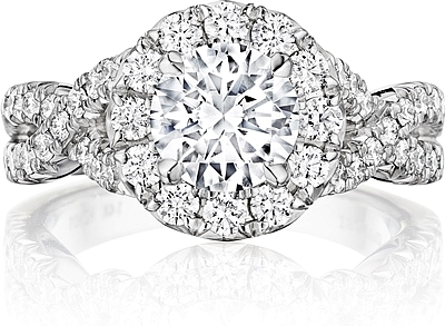Henri Daussi Pave Twist Diamond Engagement Ring