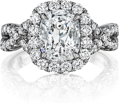 Henri Daussi Pave Twist Diamond Halo Engagement Ring