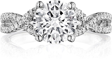 Load image into Gallery viewer, Henri Daussi Pave Twist Shank Diamond Engagement Ring