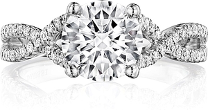 Henri Daussi Pave Twist Shank Diamond Engagement Ring