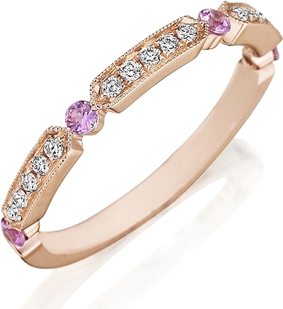Henri Daussi Pink Sapphire & Diamond Wedding Band