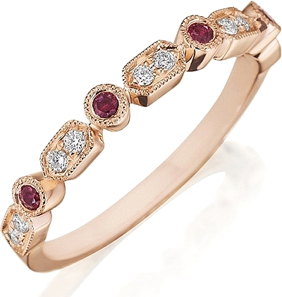 Henri Daussi Ruby & Diamond Wedding Band