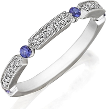 Load image into Gallery viewer, Henri Daussi Sapphire & Diamond Wedding Band