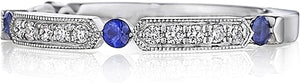 Henri Daussi Sapphire & Diamond Wedding Band