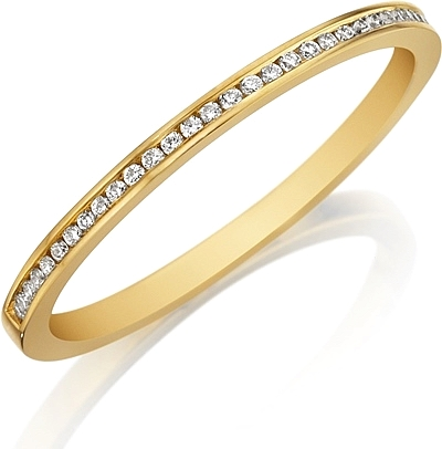 Henri Daussi Thin Channel Set Diamond Wedding Band