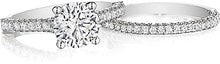 Henri Daussi Three Sided Pave Diamond Engagement Ring