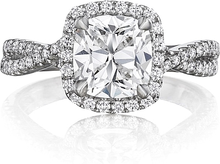 Load image into Gallery viewer, Henri Daussi Twist Shank Diamond Engagement Ring