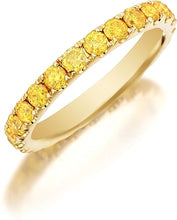 Henri Daussi Yellow Diamond Pave Band