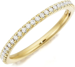 Henri Daussi Yellow Gold Pave Band