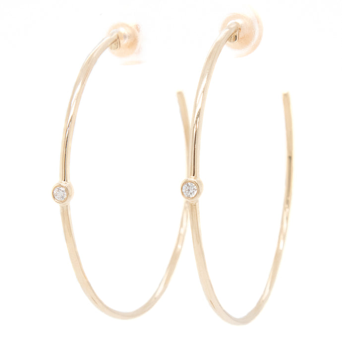 14k Yellow Gold Hoops With Bezel Diamond