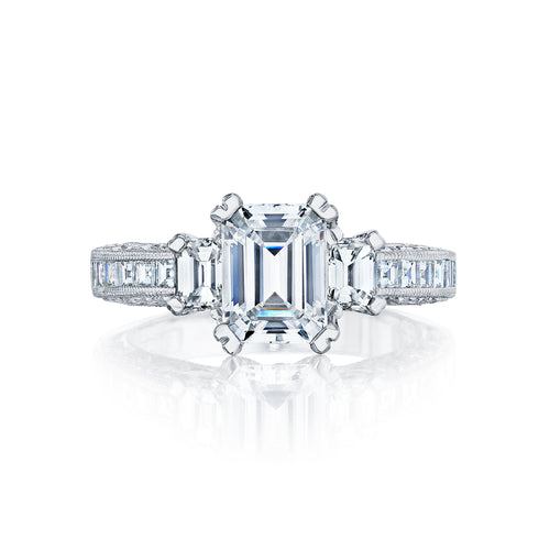 Tacori Emerald Channel Set Diamond Engagement Ring