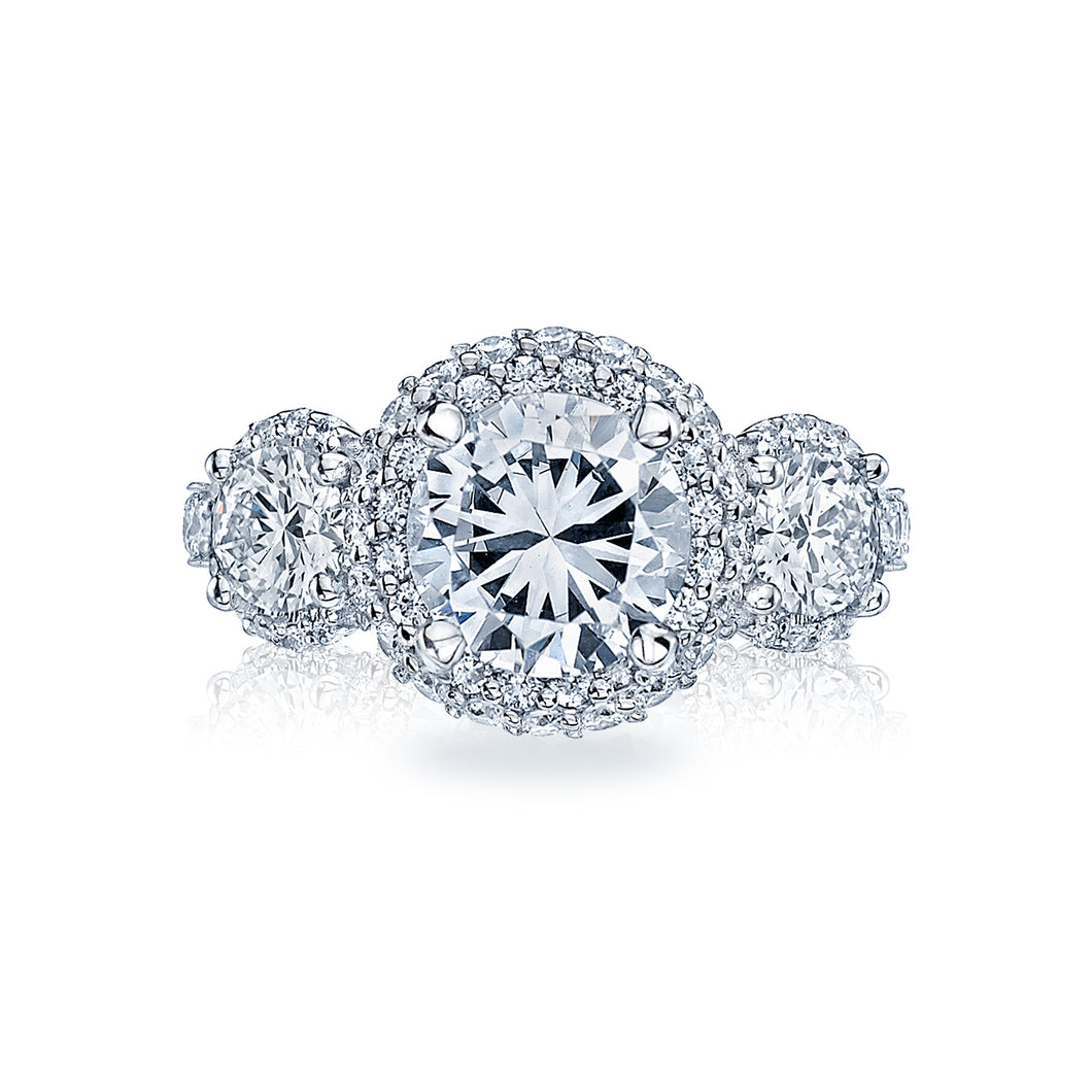 Tacori Three Stone Pave Diamond Engagement Ring