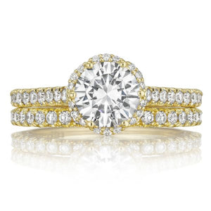Tacori Gold Pave Halo Diamond Engagement Ring