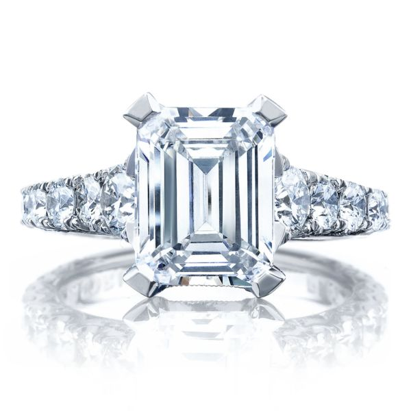 Tacori Royalt Graduated Prong Set Emerald Cut Diamond Engagement Ring H L Gross