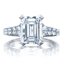 Tacori RoyalT Graduated Prong Set Emerald Cut Diamond Engagement Ring