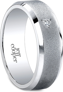 Jeff Cooper Satin Finish Men's Diamond Wedding Band-7mm