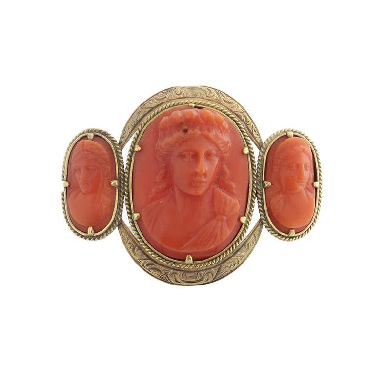Estate 18k Yellow Gold Carved Coral Brooch