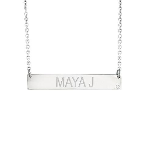 14k White Gold Diamond Engravable Bar Necklace