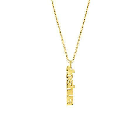 14k Yellow Gold Vertical Nameplate Necklace