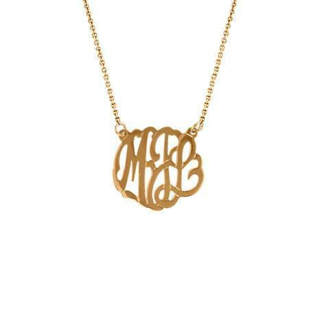 Maya J 14k Rose Gold Small Monogram Necklace
