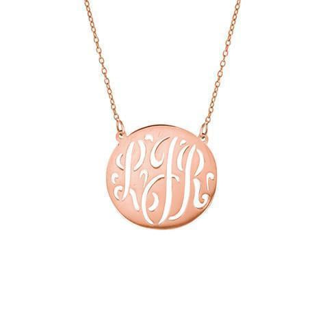 Maya J 14k Rose Gold Medium Cutout Monogram Dic Necklace