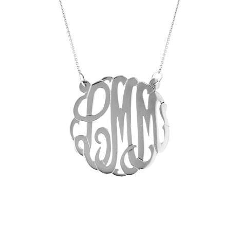 Maya J 14k White Gold Large Monogram Pendant