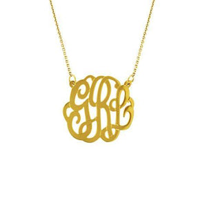 14k Yellow Gold Medium Monogram Necklace