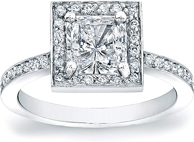 Micro-Pave Diamond Engagement Ring for a Princess Cut Center
