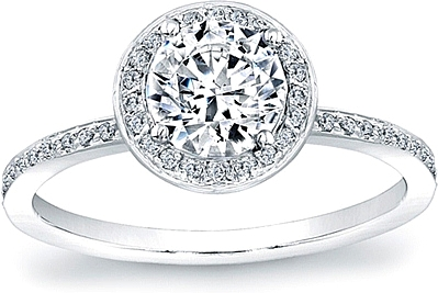 Micro-Pave Diamond Halo Engagement Ring- 1/4ct tw
