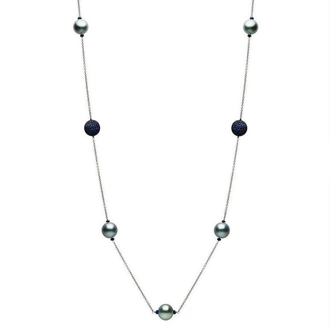 14k White Gold Tahitian Pearl & Sapphire Necklace